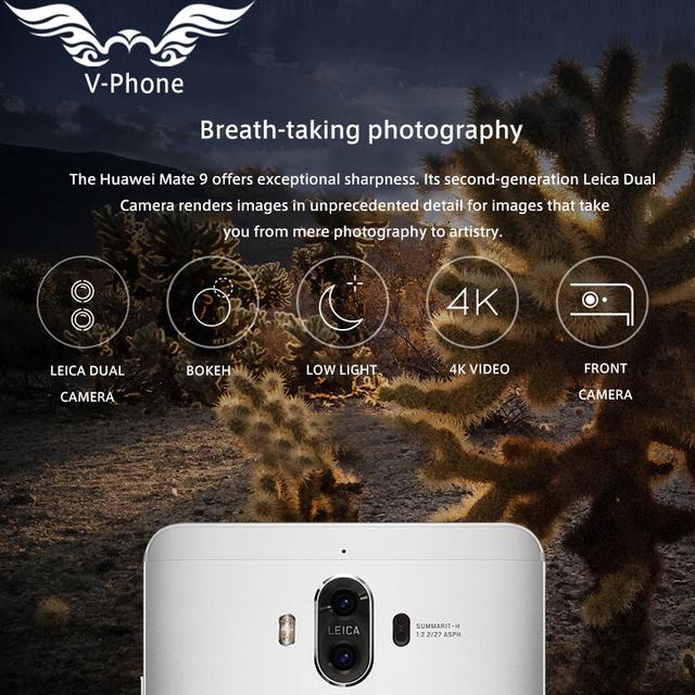 Original Huawei Mate 9 Mate9 4G LTE Octa Core 4GB RAM 64GB ROM 5.9″ HD Android 7.0 Fingerprint ID 20MP+12MP Camera Mobile Phone
