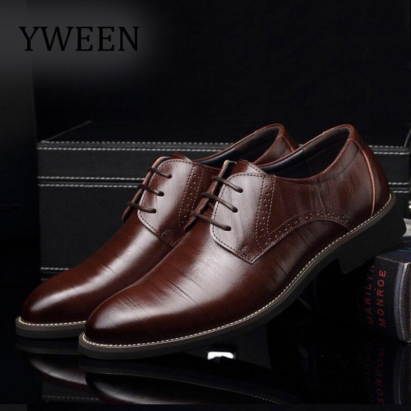 9a549d7d8 YWEEN الأزياء الرجال أحذية من الجلد الدانتيل يصل الرجال اللباس أحذية الخريف  الشتاء أوكسفورد أحذية للرجال