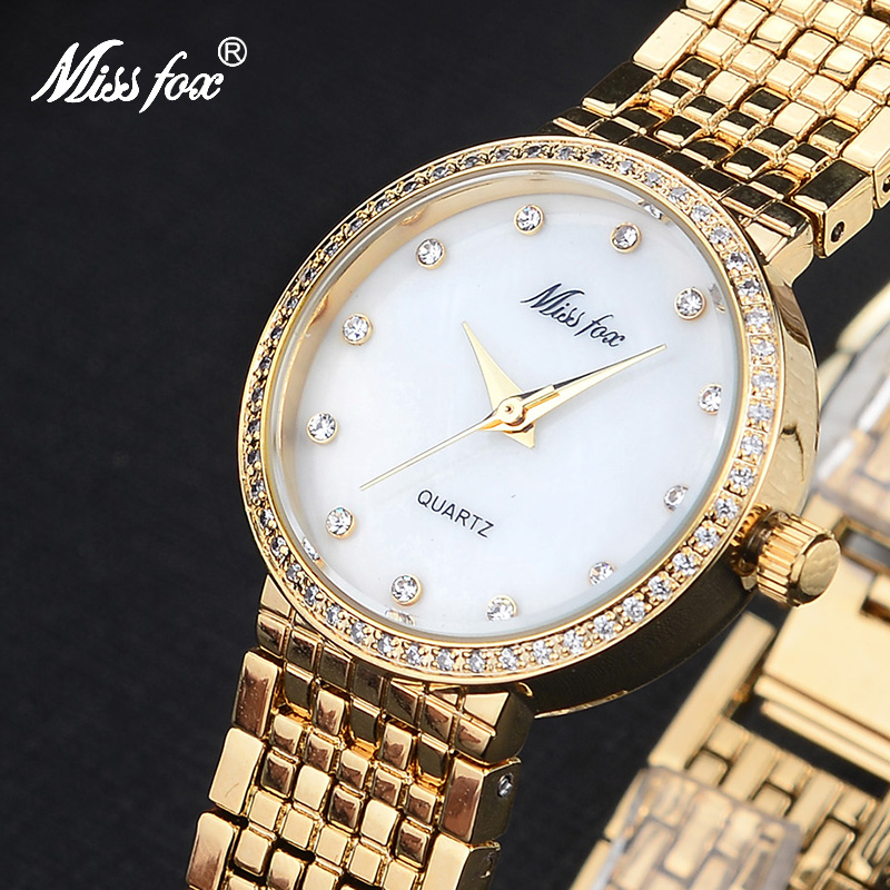 Miss Fox Top Fashion Brand Womens Watches Luxury Stainless Steel Quartz Female Wrist Watch Casual Clock Rhinestone Ladies Watch miss fox role watches quartz women famous brand rose gold watch waterproof diamond stainless steel ar ladies luxury wrist watch