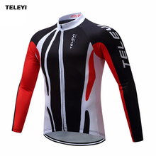 TELEYI 2017 Team Wear Outdoor Long Sleeve Mens Cycling Jersey Road Bike Riding Clothing Long Cycle Top Size S-4XL
