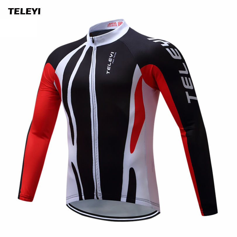 TELEYI 2018 Team Wear Outdoor Long Sleeve Mens Cycling Jersey Road Bike Riding Clothing Long Cycle Top Size S-4XL