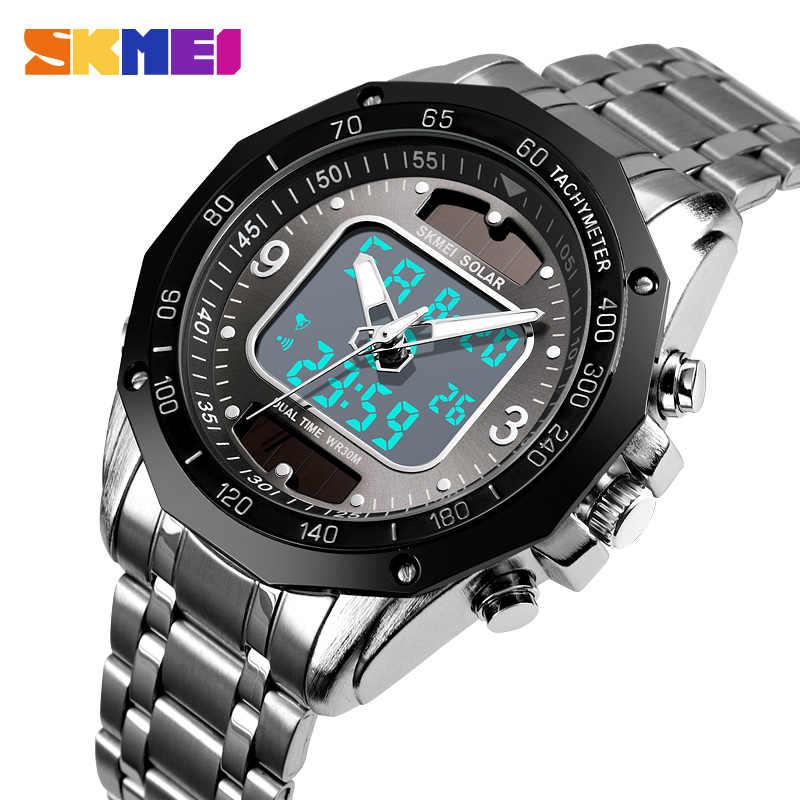 ספורט שעונים גברים של שמש Led דיגיטלי קוורץ שעון גברים שעון מלא פלדה עמיד למים שעון יד relojes hombre 2019 SKMEI