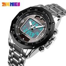 Часы наручные SKMEI Мужские кварцевые Светодиодные, спортивные цифровые водонепроницаемые полностью стальные, с солнечной батареей, 2019