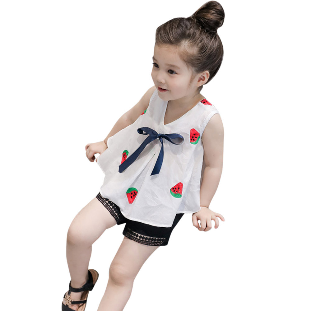 Toddle Girls Outfits Clothes summer newest style Printing V-Neck Bow White T-shirt Vest+Shorts Pants Set menina roupas infantis