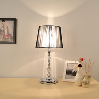 Modern Table Lamps Fashion Bedroom Bedside Lamp Black Lampshade Metal Crystal E27 Holder Reading Desk Lights WTL020