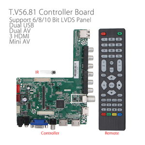 T.V56.81 full HD LCD driver board 3 HDMI Dual USB Mini AV FHD LED screen TV board with Remote Controller For 12V Screen v59(China)