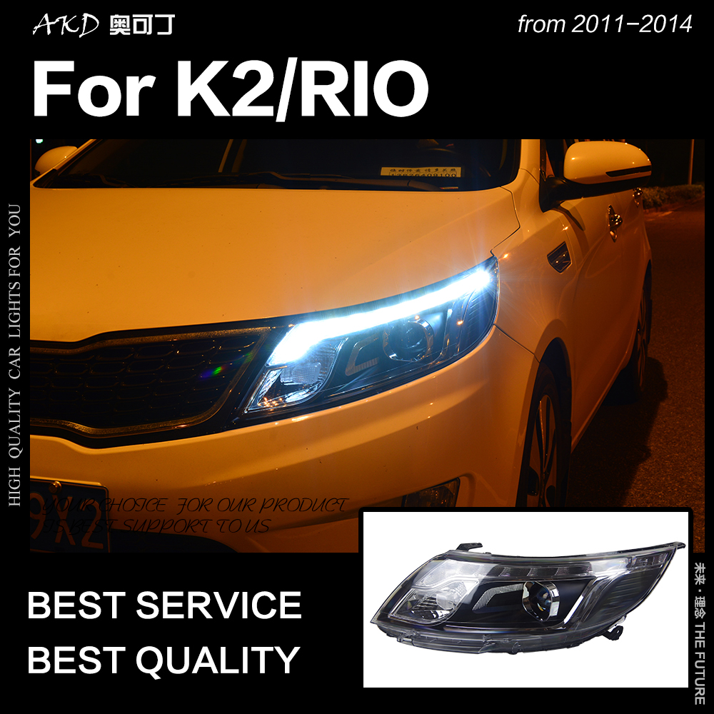 AKD Car Styling Head Lamp for Kia K2 Headlights 2011 2014 Rio LED Headlight Korea Design