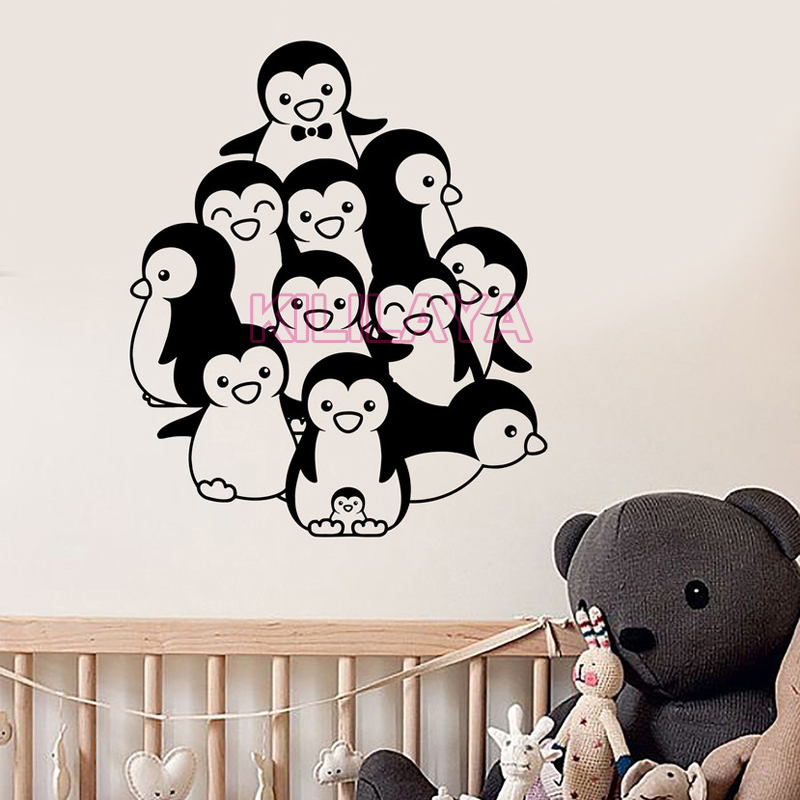 funny penguin vinyl wall stickers for living room & kids room vinyl
