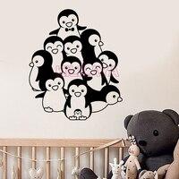 Pinguino divertente Vinile Wall Stickers Per soggiorno e camera dei bambini Decalcomanie In Vinile Autoadesivo di Arte Della Parete Carta Da Parati Per La Decorazione Domestica