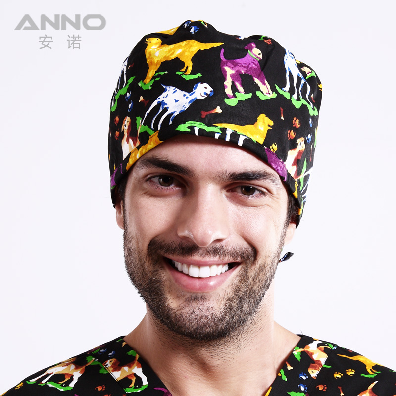 New Matin Surgical Caps woman female doctor caps scrub hats on black pattern printing sweat beanie Clinic Working Hat