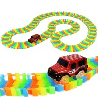 240pcs Glowing Race Track Bend Flex Flash In The Dark With 1 Assembly Led Toys Car