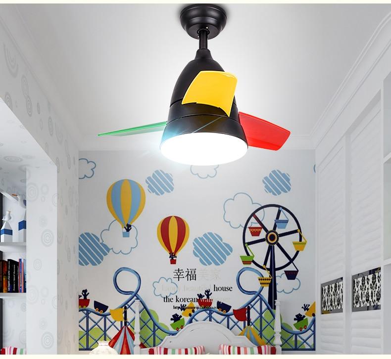 Simple moderno dormitorio ventilador luces de araña ventilador comedor sala de estar habitación para niños Mini ventilador de araña luz led 36 pulgadas