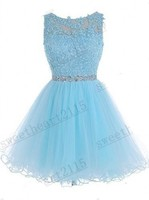 Charming Beading Appliques Short Prom Dresses Tank Knee Length Tulle Stock Dress