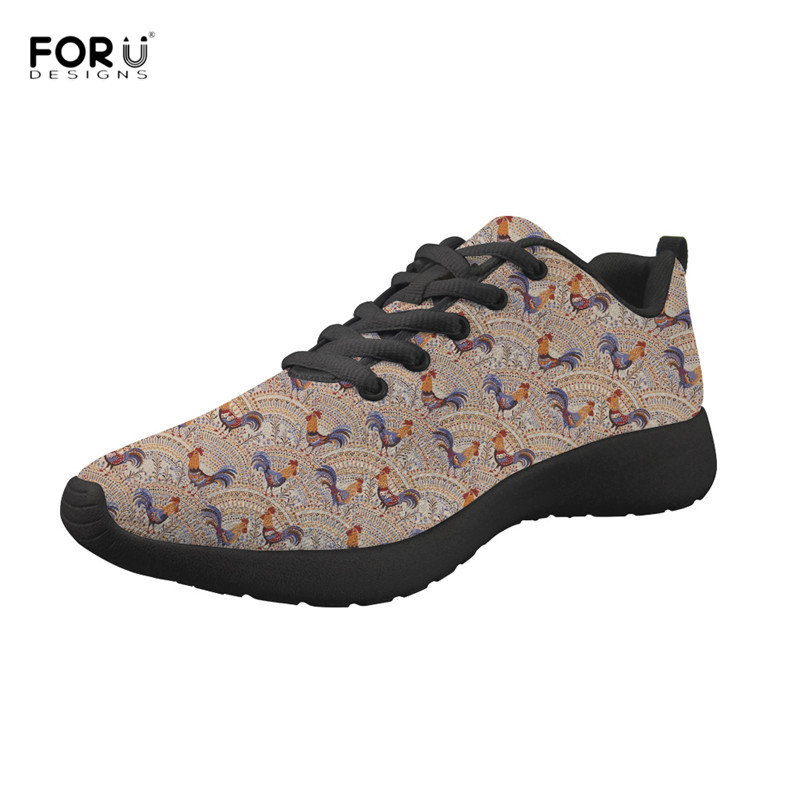 Twoheartsgirl Novelty Farm Chicken Print Mesh Loafers For Women Breathable Female Ladies Flat Sneakers Slip-on Female Flats Shoes