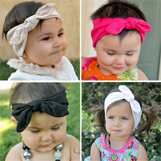 1af33d29b45d Fashion Cute Rabbit Ears Bow Hair Bands Baby Cloth Headband Bowknot Headwear  For Girls Children Headdress