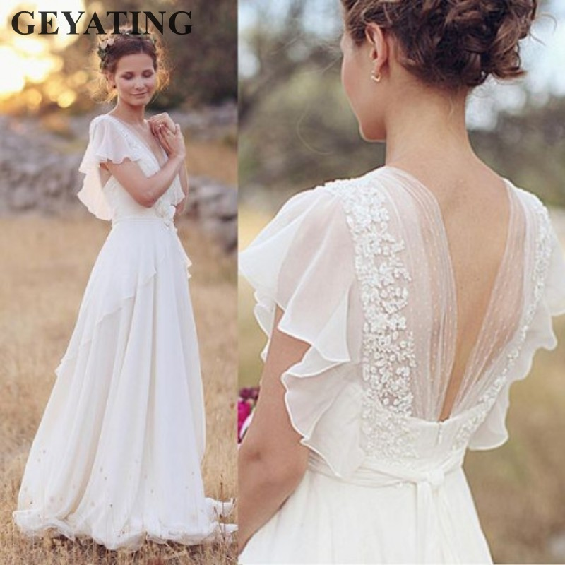 Bohemian Hippie Wedding Dresses 2019 Beach A-line Boho Wedding Dress Maternity Pregnant Bridal Gowns Backless White Lace Chiffon Платье