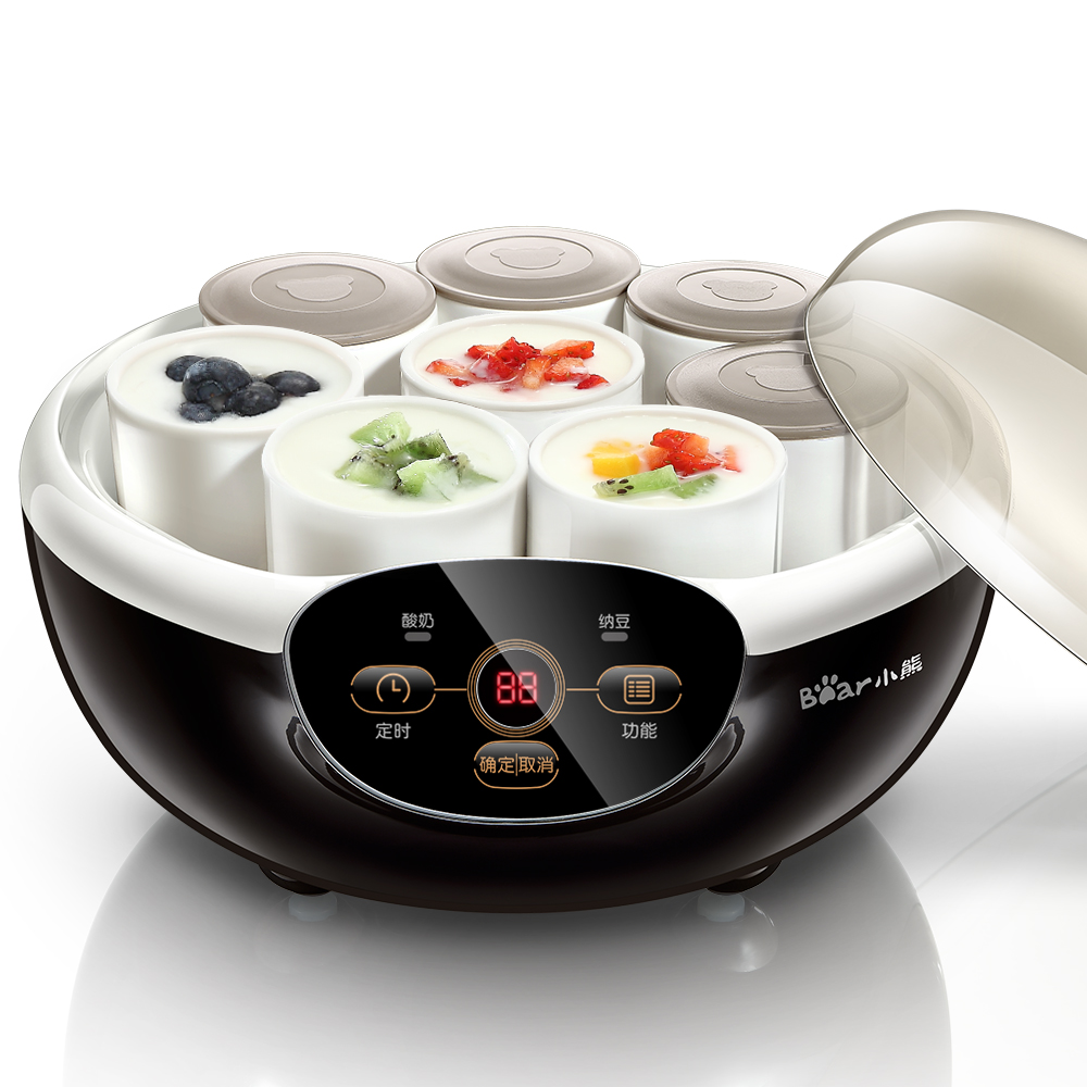 Home Mini Yogurt Machine Natto Machine Automatic Yogurt Maker with 8 Ceramic Cups 2 Portable Box 1 Natto Basket 20W 1.0L