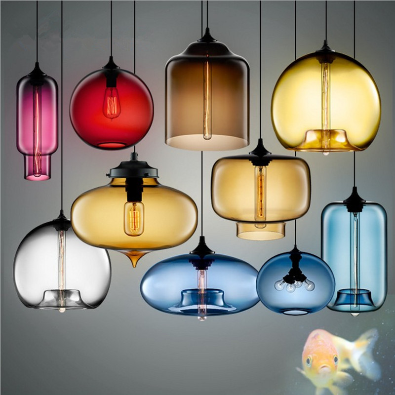 Artpad Multi Color Stained Clear Glass Pendant Light Lamp for Dining Room Bar Coffee Hotel Restaurant Lighting LED Hanging LightArtpad Multi Color Stained Clear Glass Pendant Light Lamp for Dining Room Bar Coffee Hotel Restaurant Lighting LED Hanging Light