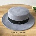 Lana, doble ceniza M palabras pálido gris sombrero de techo plano de ala plana sombrero femenino