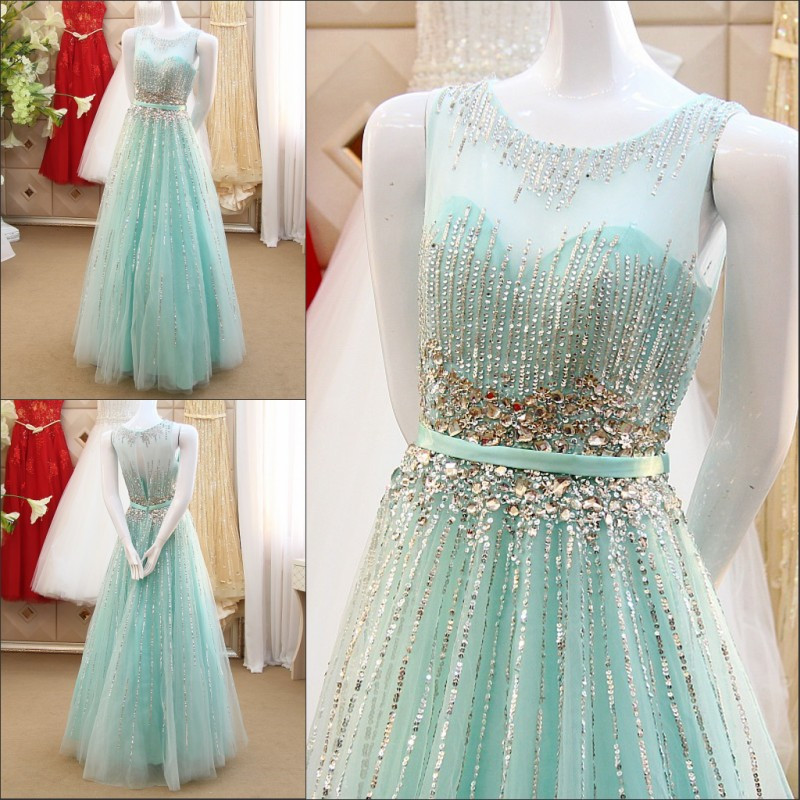 2016 New Elegant A Line Formal   Dresses   Light Blue Lace Appliques   Evening     Dresses   With Crystals Robe De Soiree IZ518