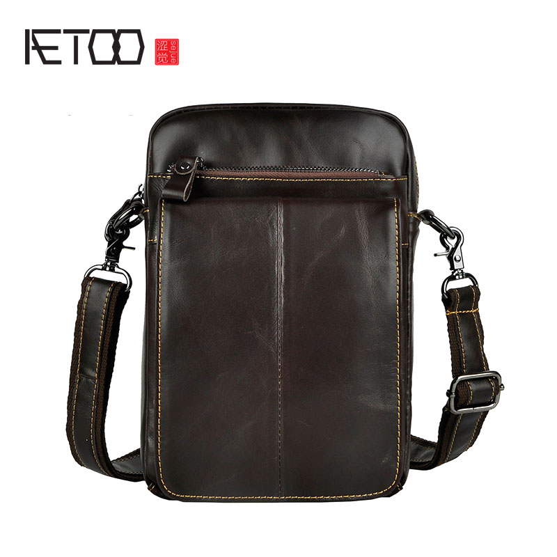 AETOO Mens tide cool phone camera leg bag small waist bag head layer oil wax leather leather retro