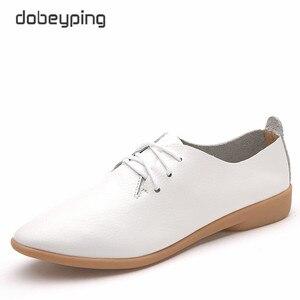 Image 3 - Zapatos de Ballet informales para mujer, mocasines 100% de piel auténtica, planos con cordones, flexibles, talla grande 35 44