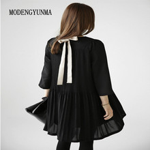 MODENGYUNMA Black Maternity Dress Spring Evening BOW Pleated Clothes For Pregnant Women
