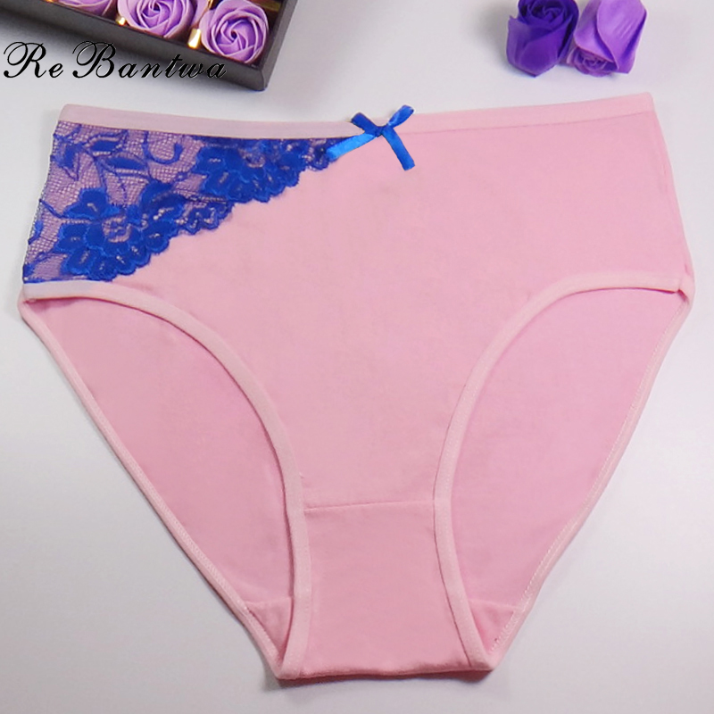 Rebantwa 2017New Women Underwear Cotton Mother s Panties Lace Calcinha Sexy lingerie Oversized Pink Mom Briefs