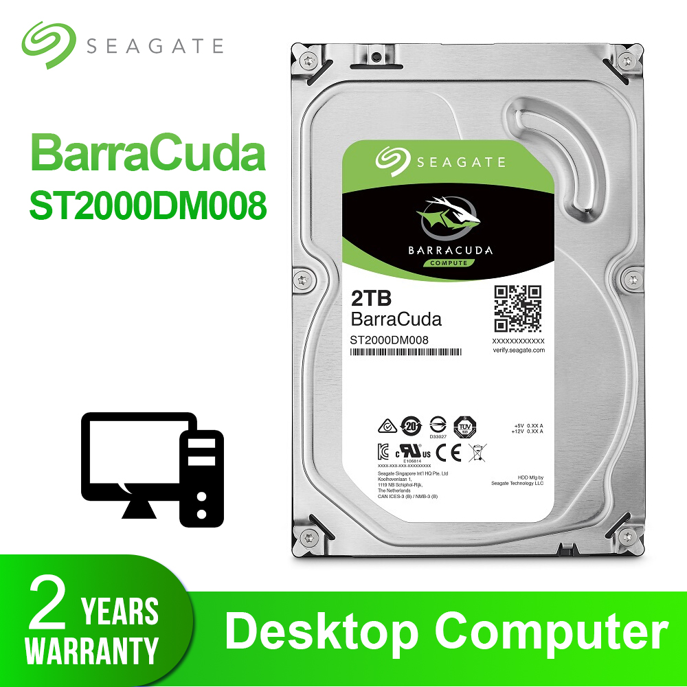 Disque dur interne Seagate 2 to 3.5 ''HDD de bureau disque dur d'origine 2 to 7200 tr/min SATA 6 Gb/s pour ordinateur ST2000DM008