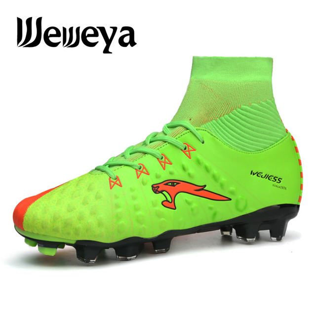 33d95aace2e Men Long Spikes Football Boots with High Ankle Soccer Shoes High Quality  Outdoor Lawn SG FG HG Football Cleats Shoes Soccer Shoe