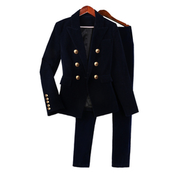 Work Pant Suits OL 2 Piece Sets Double Breasted Velvet Blazer Jacket & Zipper Trousers Suit for Women Outfits Feminino Spring