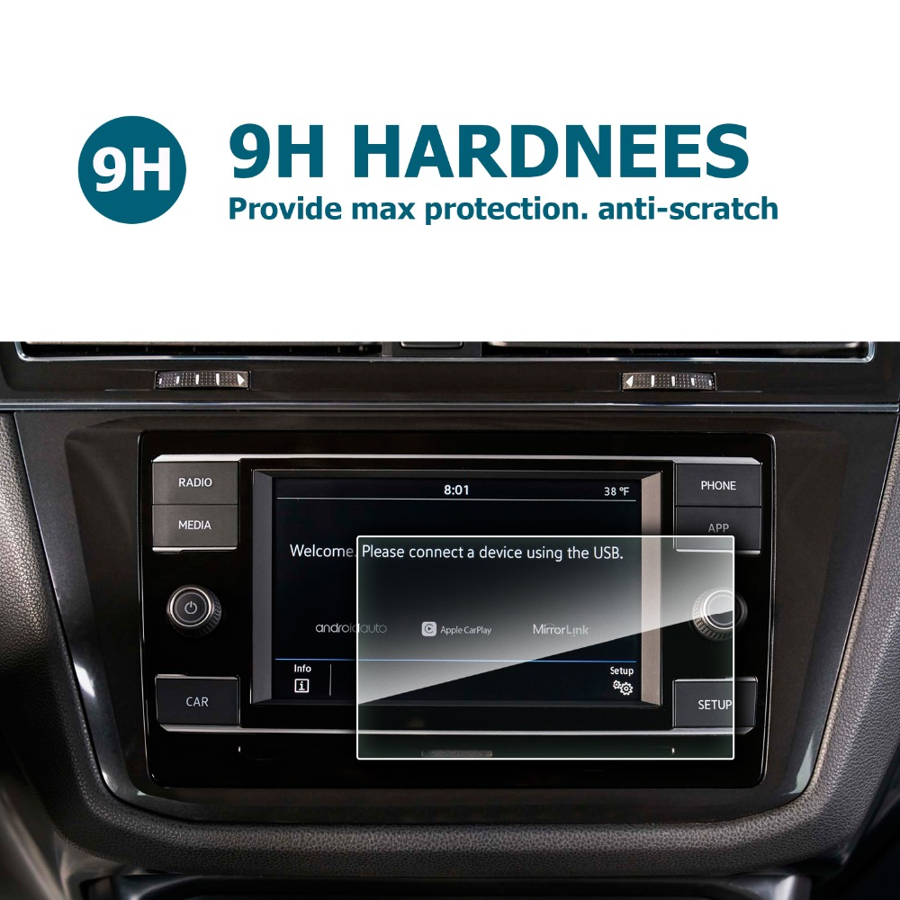 Vidro temperado protetor RUIYA para Volkswagen Tiguan/Tiguan VW II GTE Allspace Composição Cor 6.5 polegada tela de navegação do carro