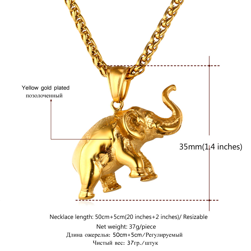 Wonderful U7 Stainless Steel Gold Color Elephant Necklace Trendy Men Jewelry  OZ16