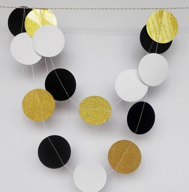 5pcs Gold Black White Garland For New Years Eve Party Wedding