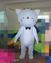 cute shine eyes white cat mascot costumes
