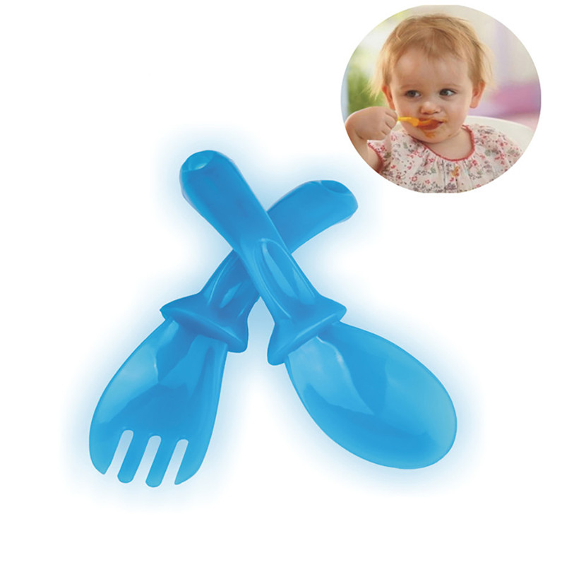 1 Set Safety Baby Dinnerware Set Travel Plastic Cutlery Set In Handy Case 2JU29