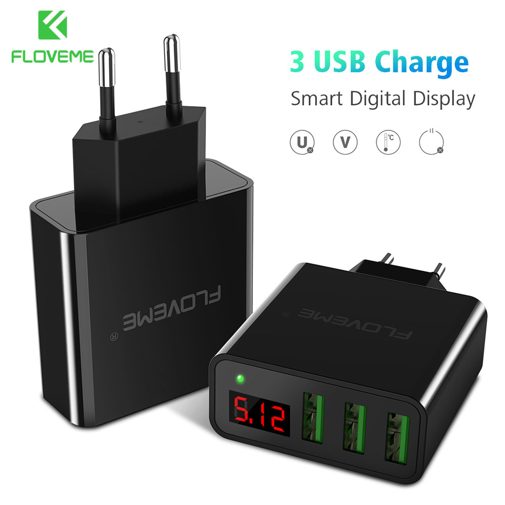 FLOVEME 3-Ports Professional Smart Digital USB Fast Charger Portable Charging Travel Adapter For iPhone Samsung Xiaomi OnePlus 5