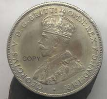 1926 In Australia 1 Un Florin Due Scellini George V Incoronato Busto Sinistra In Ottone Placcato Argento Copia Moneta Con Reeded Bordo(China)