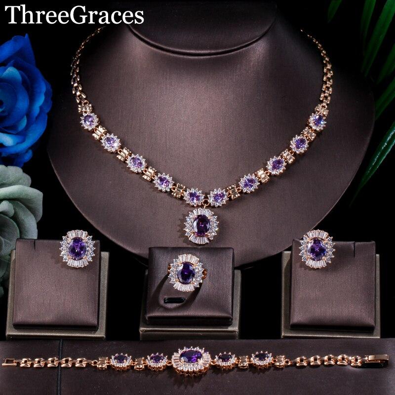 ThreeGraces Dubai Gold Color Purple Oval Austrian Crystal 4 Piece Luxury Wedding Engagement Jewelry Set For Women JS168