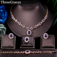 ThreeGraces Dubai Gold Color Purple Oval Austrian Crystal 4 Piece Luxury Wedding Engagement Jewelry Set For Women JS168
