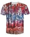 Mulheres/homens moda vestuário Floresta Rabiscar T-Shirt folhas vermelhas mulher bonita estilo engraçado tee verão