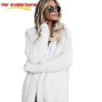 Provare Tutto Bianco Lungo Cardigan Femminile 2017 Autunno Manica Lunga Aperta Stitch Allentato Cappotto Incappucciato Del Maglione Cardigan Abbigliamento Donna
