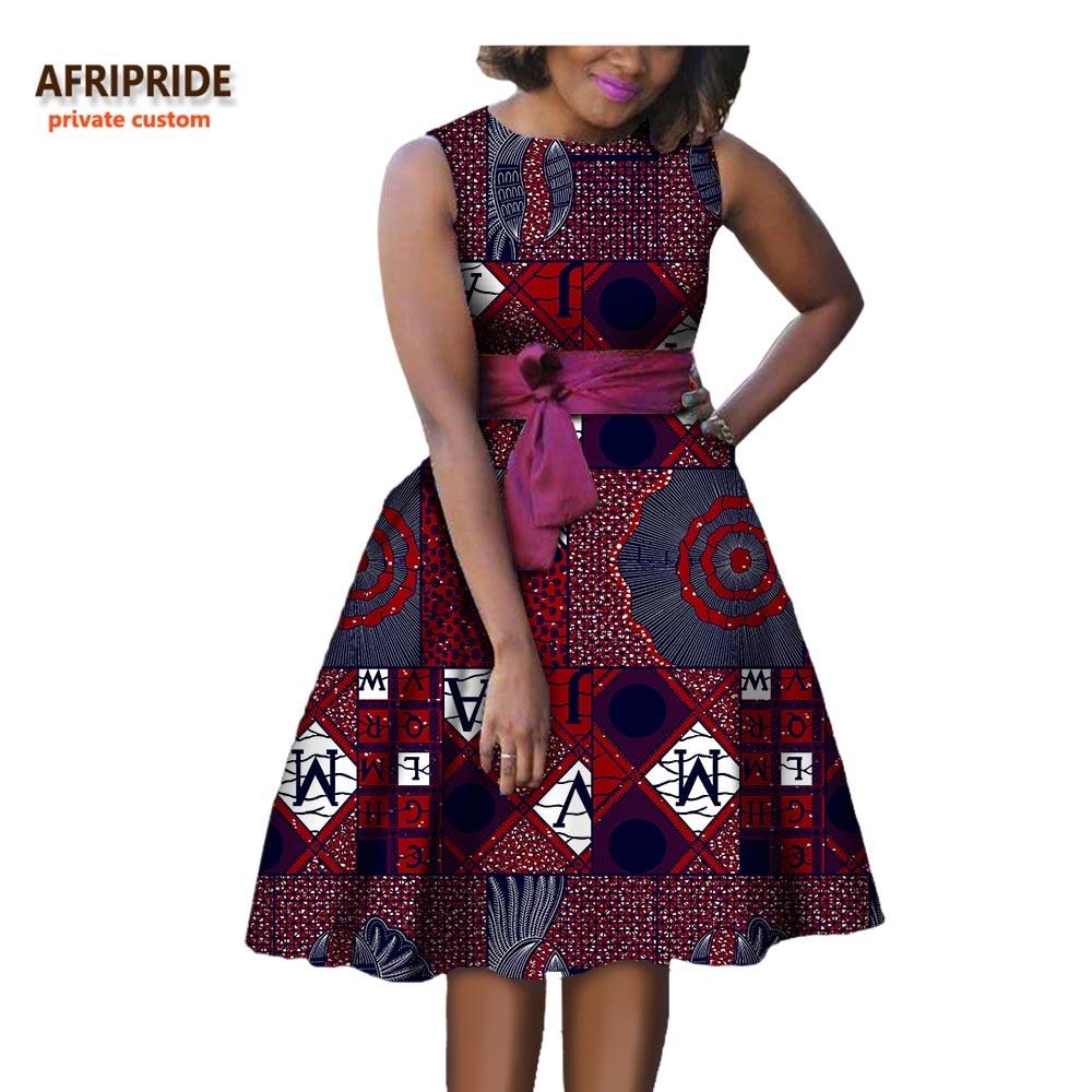 Shipping Custom Dress Line Knee: 2018 Autumn Women African Dress AFRIPRIDE Private Custom
