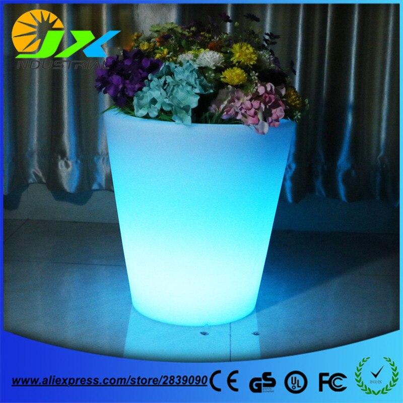 Большой Пластик led цветочные горшки украшения сада напольная ваза зеленый плантатор искусственный цветочный горшок для ресторан отеля тор