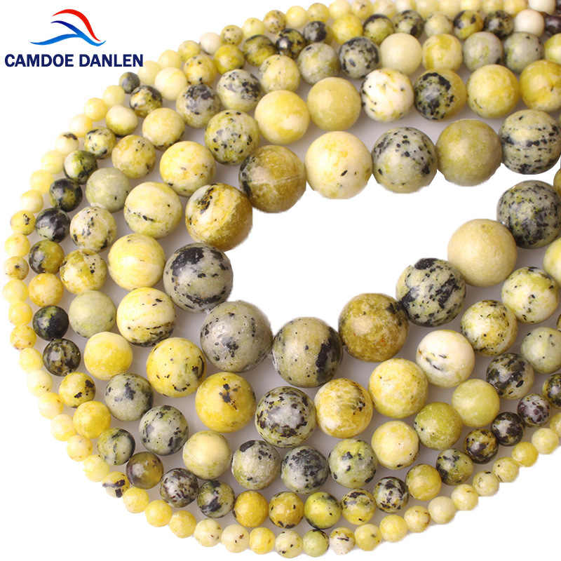 CAMDOE DANLEN Natural Stone Yellow Turquoises Howlite Round Beads 6 8 10 12 MM Fit Diy Charms Beads Jewelry Making Accessories
