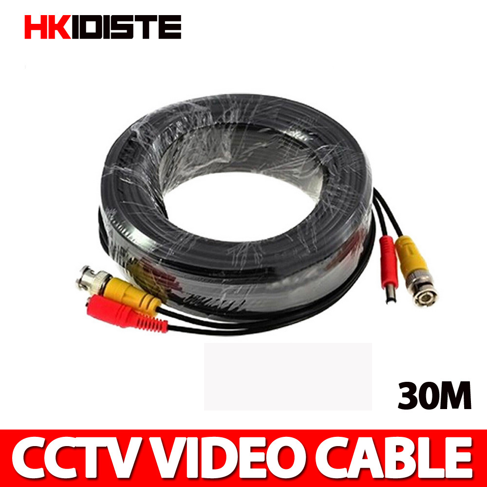 30 M 100 Pieds BNC Câble D'alimentation Vidéo Pour CCTV AHD Caméra DVR Système de Sécurité Noir Accessoires De Surveillance