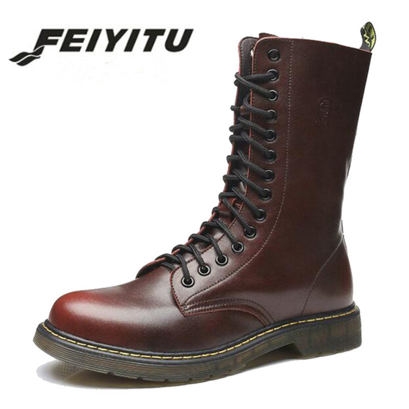 feiyitu Martin Military Boots Men Shoes Leather Men Boots Brand Fur Boots For Men Autumn Winter Shoes Zapatos Hombre Size 38-46 winter martin military boots men shoes leather men boots brand fur boots for men autumn winter shoes zapatos hombre size 38 48
