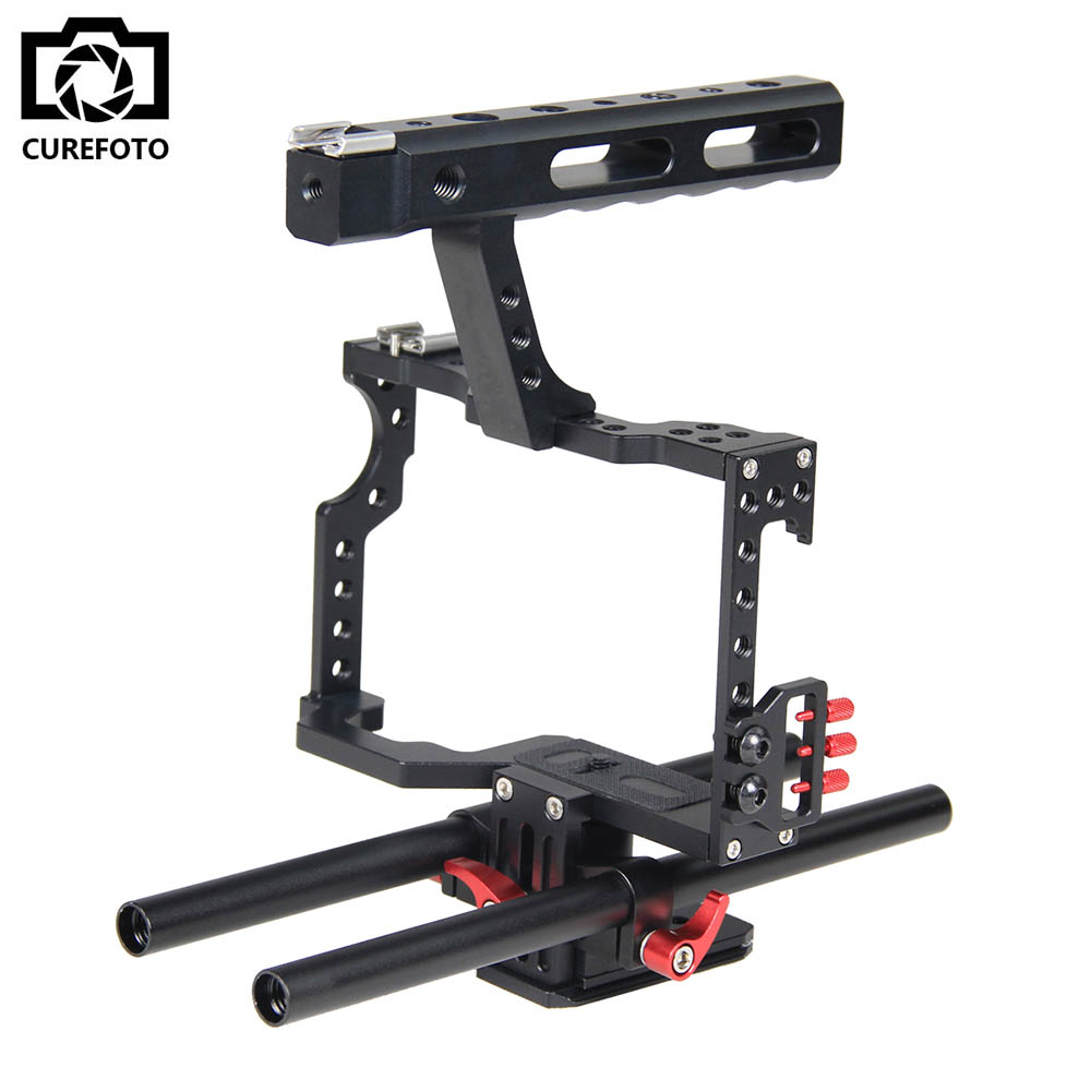 Professional Aluminum DSLR Camera Video Cage With 15mm Rod System Rig For Sony Alpha A7 A7II A7S A7SII A7R A7RII Panasonic GH4