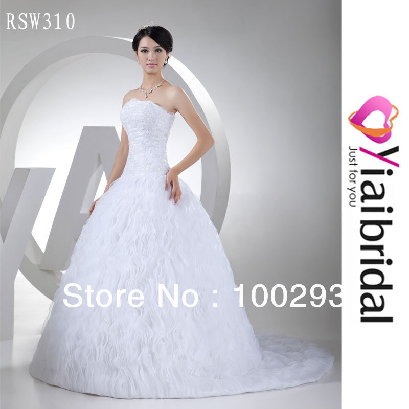 RSW310 Vertical Ruffle Organza Wedding Dress Real Sample