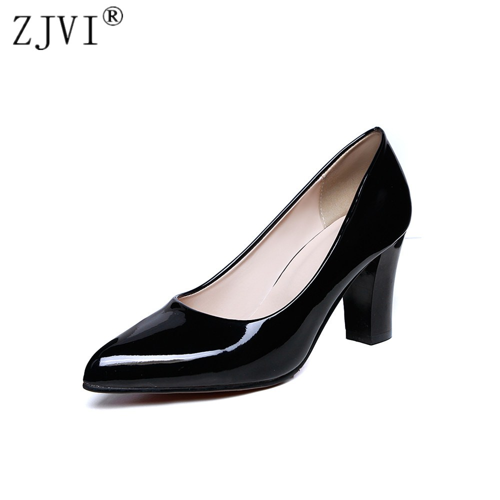ZJVI women pointed toe thick High heels pumps woman patent PU shoes 2018 summer ladies autumn womens black red nude work pumps women in the summer of 2018 the new patent leather nude wedges pointed toe pump work shoes leisure women plus size 35 40 a23